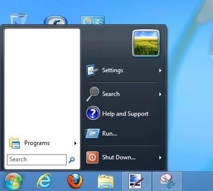 قائمة إبدأ التي توفرها أداة Win8 StartButton
