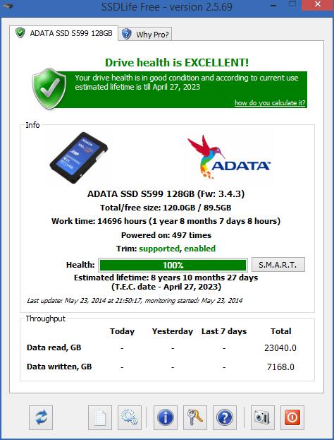 تجربتي لتطبيق SSD Life، وتظهر بالصورة حالة SSD الذي أستخدمه من شركة ADATA