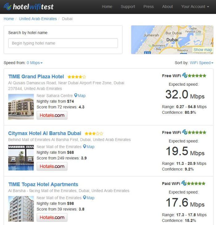 بحث عن سرعة الإنترنت في فنادق دبي، ويظهر أن فندق تايم غراند بلازا قد حصل على أعلى متوسط لسرعة الإنترنت