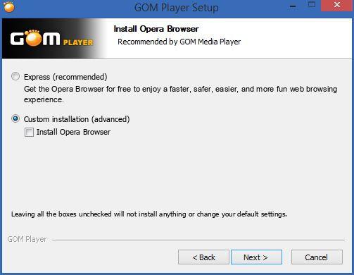 انتبه أثناء تثبيت GOM Media Player ألغِ خيار تثبيت البرامج الأخرى غير المرغوبة