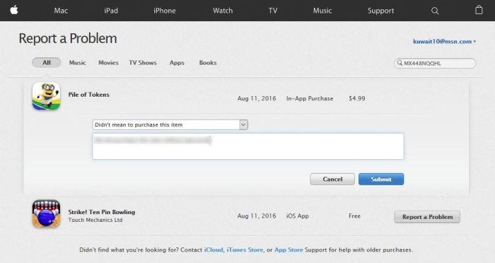App Store Report a Problem